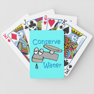 Conserve Water Drippy Faucet  blue Bicycle Playing Cards