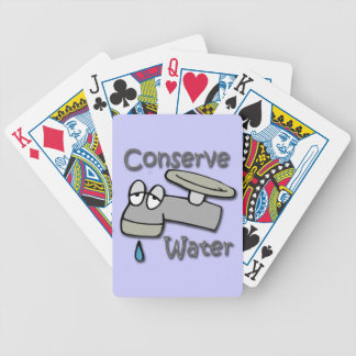 Conserve Water Drippy Faucet  gray Bicycle Playing Cards