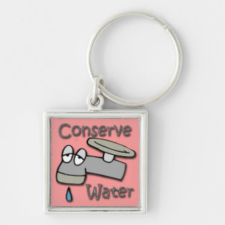 Conserve Water Drippy Faucet  gray Keychain