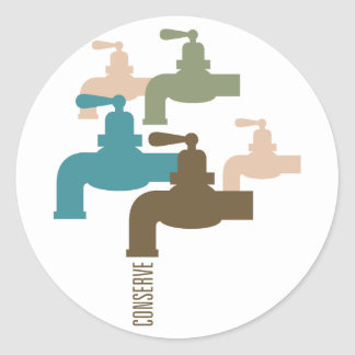 Conserve Water Faucet Round Stickers