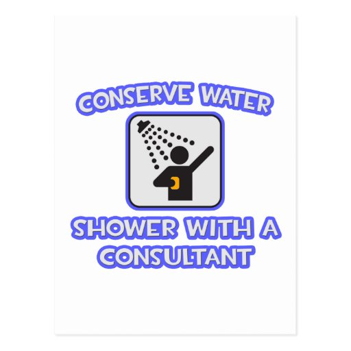 Conserve Water .. Shower w Consultant Postcard