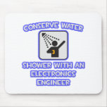 Conserve Water .. Shower w Electronics Engineer Mouse Pads
