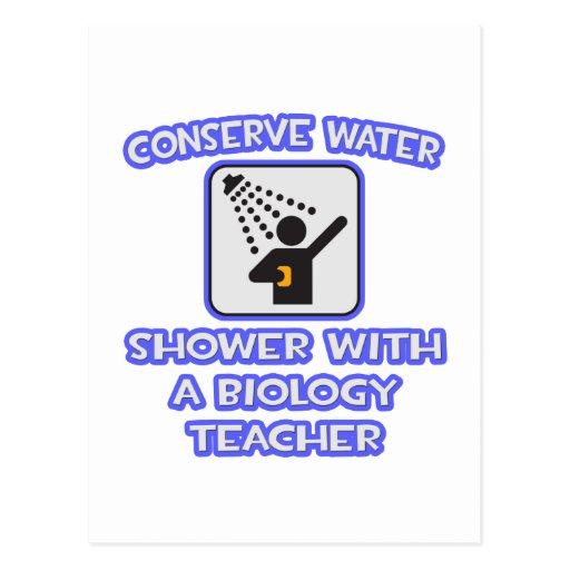 Conserve Water .. Shower With a Biology Teacher Postcard