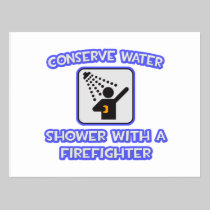 Conserve Water .. Shower With a Firefighter Postcard