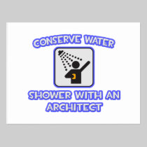 Conserve Water .. Shower With an Architect Post Card