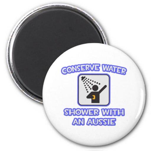 Conserve Water .. Shower With an Aussie 2 Inch Round Magnet