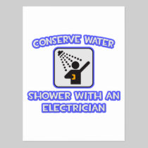 Conserve Water .. Shower With an Electrician Postcard
