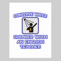 Conserve Water .. Shower With an English Teacher Postcard