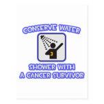 Conserve Water .. Shower With Cancer Survivor Postcard