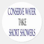 Conserve Water Take Short Showers Round Sticker
