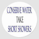 Conserve Water Take Short Showers Classic Round Sticker