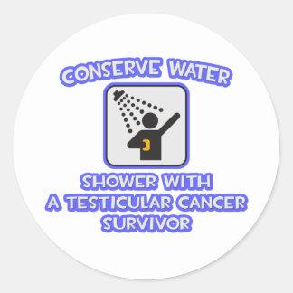 Conserve Water .. Testicular Cancer Survivor Classic Round Sticker