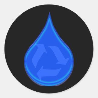 Conserve y ahorre el agua pegatina redonda