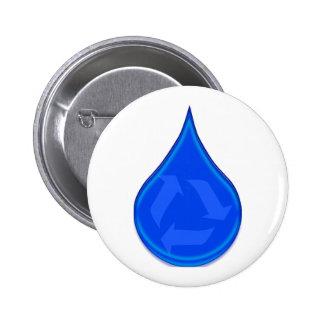 Conserve y ahorre el agua pin redondo de 2 pulgadas