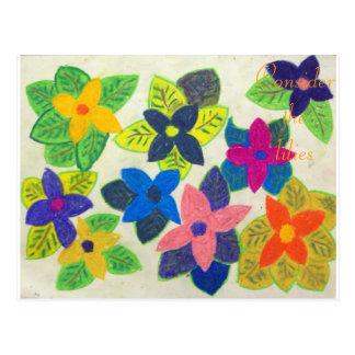 Consider the lilies Scripture Art John 13:34-35 Postcard