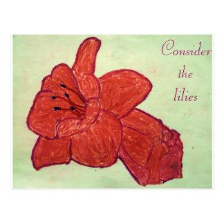 Consider the lilies Scripture Art Mark 10:51-52 Postcard