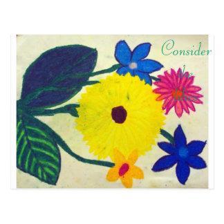 Consider the lilies Scripture Art Mark 16:17-18 Postcard