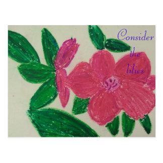 Consider the lilies Scripture Art Matthew 5:11-12 Postcard