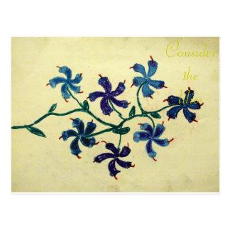 Consider the lilies Scripture Art Matthew 8:2-3 Postcard