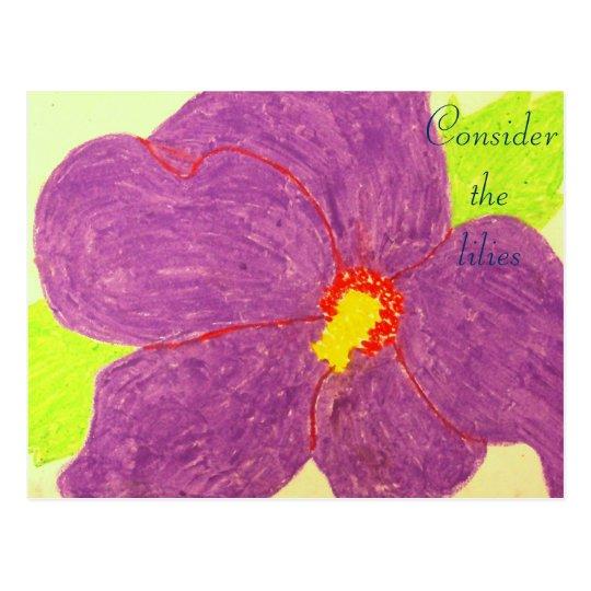 Consider the lilies Scripture Art Matthew 9:21-22 Postcard