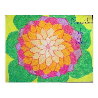 Consider the lilies Scripture Art Philemon 1:5-6 Postcard