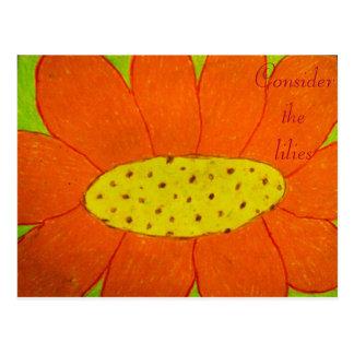 Consider the lilies Scripture Art Psalms 2:11-12 Postcard