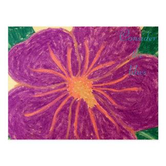 Consider the lilies Scripture Art Romans 8:35-37 Postcard