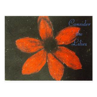 Consider the lilies Scripture Art Romans 8:38-39 Postcard