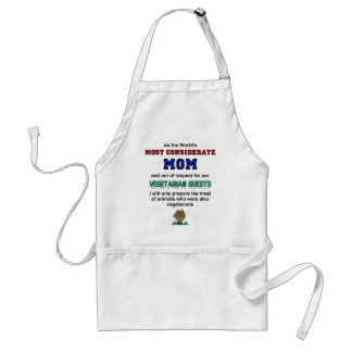 Considerate Mom Cooks Meat For Vegetarian Guests Adult Apron