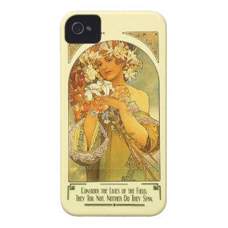 Considere los lirios del campo Alfonso Mucha Case-Mate iPhone 4 Funda