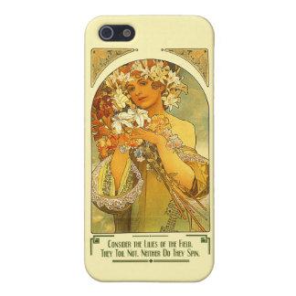 Considere los lirios del campo Alfonso Mucha iPhone 5 Funda