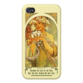 Considere los lirios del campo Alfonso Mucha iPhone 4 Protectores