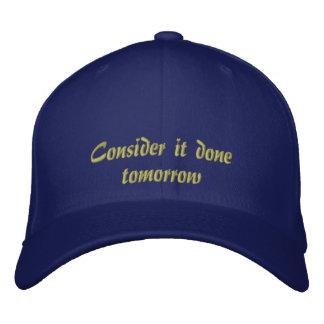 Considérelo hecho gorra bordada