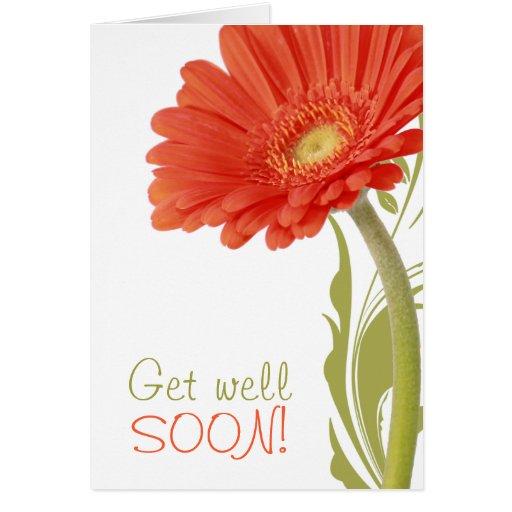 Consiga a pozo el pronto | la margarita anaranjada tarjeta de felicitación
