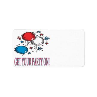 Consiga a su fiesta encendido etiquetas de dirección