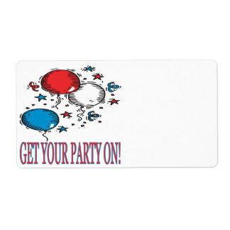 Consiga a su fiesta encendido etiquetas de envío
