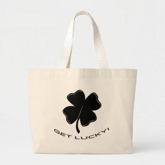 Consiga afortunado bolsas lienzo