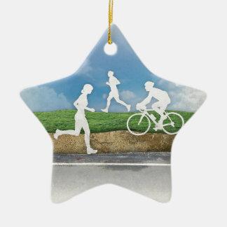 Consiga afuera adorno navideño de cerámica en forma de estrella