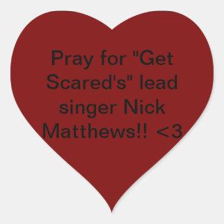 Consiga asustado. Nick Matthews Pegatinas De Corazon