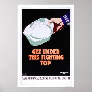 Consiga bajo este top de lucha - marina de guerra  póster