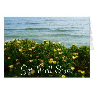 Consiga bien pronto florece por el mar tarjeton