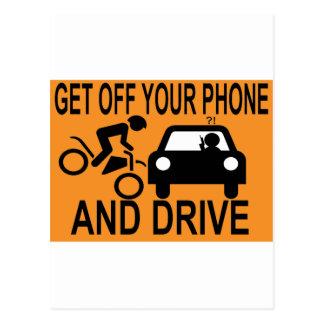 Consiga de su teléfono y conduzca tarjeta postal