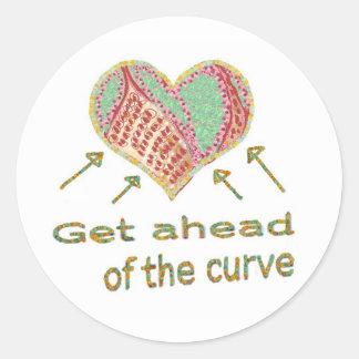 Consiga delante de la curva - jerga de la gestión pegatina redonda