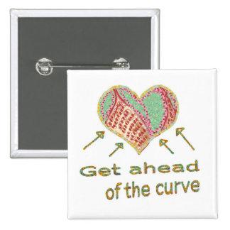 Consiga delante de la curva - jerga de la gestión pin cuadrada 5 cm