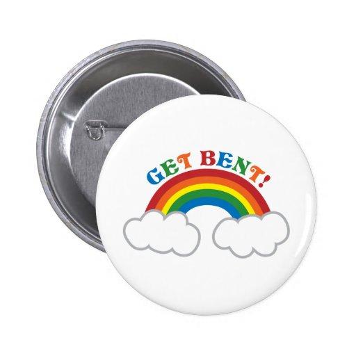 ¡CONSIGA DOBLADO! con el arco iris lindo Pin Redondo 5 Cm