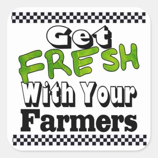 Consiga el granjero fresco pegatina cuadrada