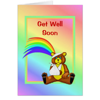 Consiga el oso pronto herido del pozo tarjeta de felicitación