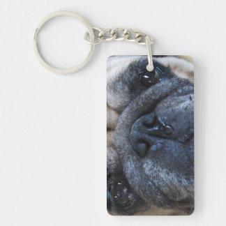 Consiga el perro pronto enfermo bien del barro llavero rectangular acrílico a doble cara