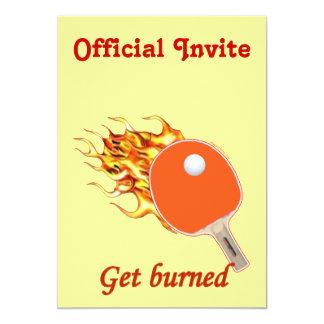 Consiga el ping-pong llameante quemado invitación 12,7 x 17,8 cm