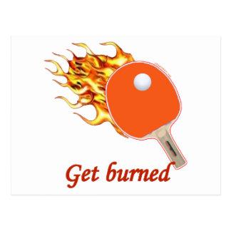 Consiga el ping-pong llameante quemado tarjetas postales
